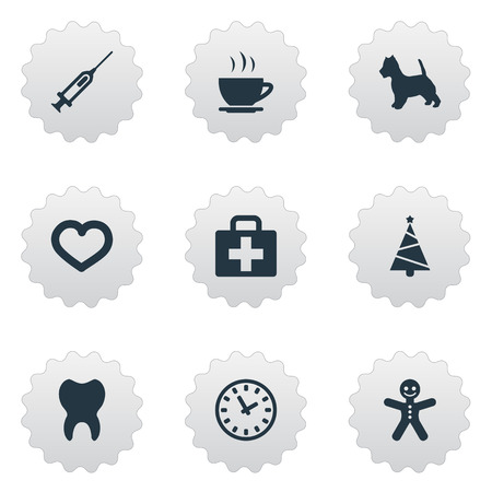 Vector Illustration Set Of Simple Household Icons. Elements Time, Hot Drink, Syringe And Other Synonyms Dog, Cookie And Injection.