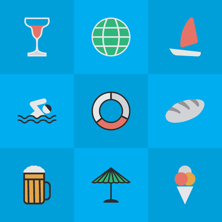 Vector Illustration Set Of Simple Relax Icons. Elements Sorbet, Pool, Boat And Other Synonyms Beach, Pool And Globe.