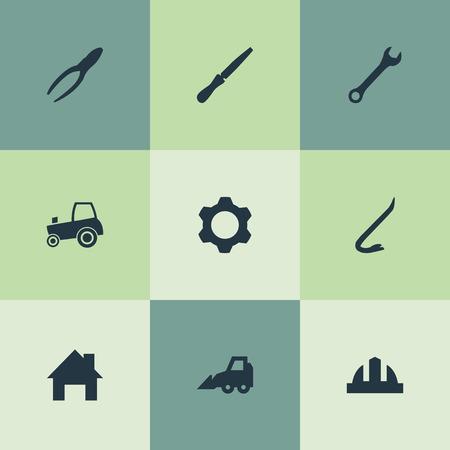 벡터 일러스트 레이 션 간단한 산업 아이콘의 세트입니다. 요소 하우스, 기어, 지미 및 기타 동의어 렌치, Hardhat 및 수리. 일러스트
