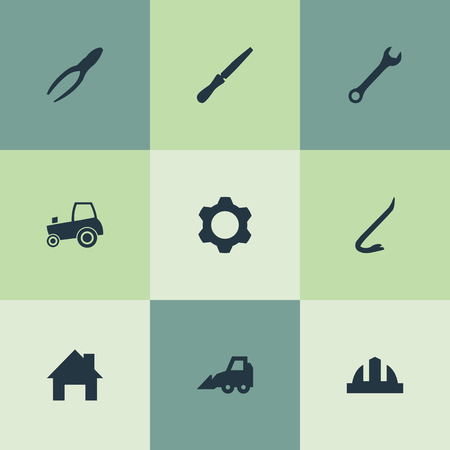 Ilustración vectorial Conjunto de iconos industriales simples. Casa de elementos, engranaje, Jimmy y otra llave de sinónimos, casco y reparación. Foto de archivo - 83160578