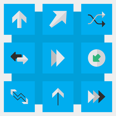 Vector Illustration Set Of Simple Arrows Icons. Elements Up, Import, Forward And Other Synonyms Northwest, Forward And Chaotically. Иллюстрация