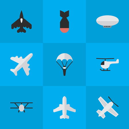 Vector Illustration Set Of Simple Aircraft Icons. Elements Flying Vehicle, Airplane, Airliner And Other Synonyms Plane, Aviation And Rocket. Ilustração
