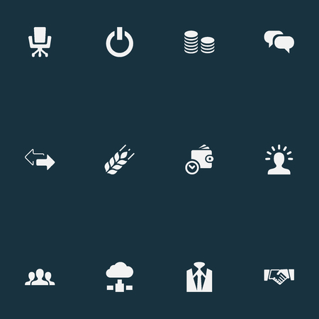 Vector Illustration Set Of Simple Commerce Icons. Elements Cloud Storage, Switch Button, Work Seat And Other Synonyms Currency, Suit And Cash.