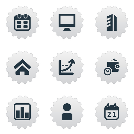 Vector Illustration Set Of Simple Entrepreneurship Icons. Elements Agenda, Wallet, Construction And Other Synonyms Income, Date And Line.