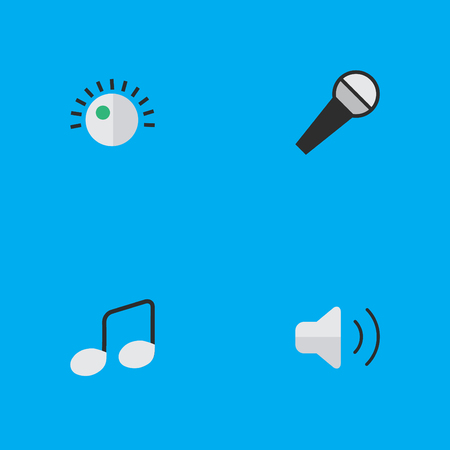 Vector Illustration Set Of Simple Music Icons. Elements Regulator, Loudness, Music Sign And Other Synonyms Sound, Sign And Amplifier.