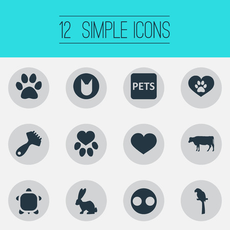Vector Illustration Set Of Simple Fauna Icons. Elements Wildlife, Hair Brush, Kitten And Other Synonyms Pork, Banner And Snout. Illustration