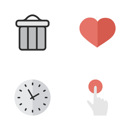 Elements Switch Knob, Time, Trashcan And Other Synonyms Clock, Red And Trash.  Vector Illustration Set Of Simple Interface Icons. Illustration