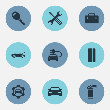 Vector Illustration Set Of Simple Car Icons. Elements Repair, Lock, Sprinkler And Other Synonyms Express, Plug And Vehicle.