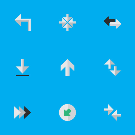 Vector Illustration Set Of Simple Cursor Icons. Elements Northwestward, Import, Onward And Other Synonyms Turn, Ahead And Inside.