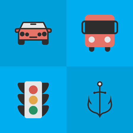 Vector Illustration Set Of Simple Traffic Icons. Elements Autobus, Traffic Lights, Armature And Other Synonyms Car, Lighter And Auto.