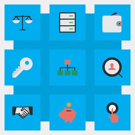 Illustration vectorielle définie des icônes de commerce simple. Elements Purse, Justice, Loupe et autres synonymes graphique, mains et ouvert. Banque d'images - 83160591