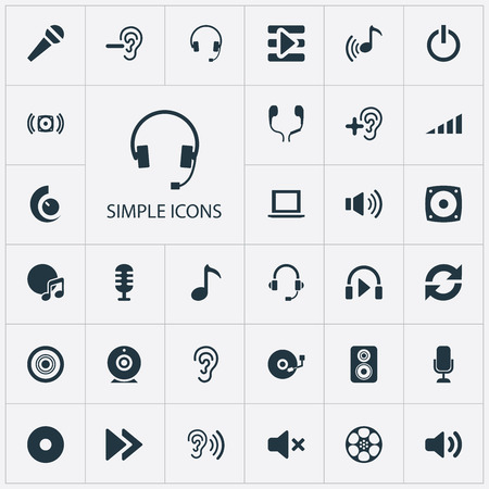 Vector Illustration Set Of Simple Sound Icons. Elements Support  Service, New Album, Note And Other Synonyms Headphone, Album And Sing.