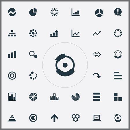 Vector illustratie Set van eenvoudige pictogrammen. Elementen lijndiagram, gegevens, piekstroom en andere synoniemenvooruitgang, stuk en grafiek.