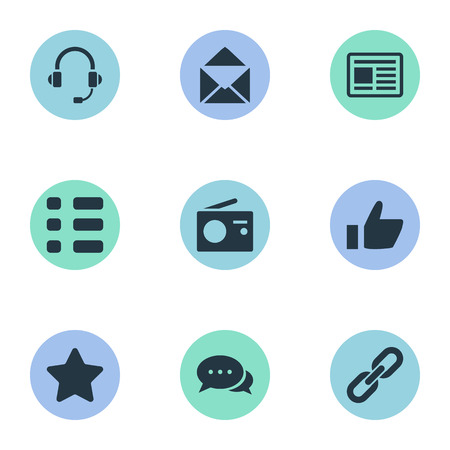 Vector Illustration Set Of Simple Network Icons. Elements Headphone, Link, Success And Other Synonyms Headphone, Vote And Epistle. Illustration