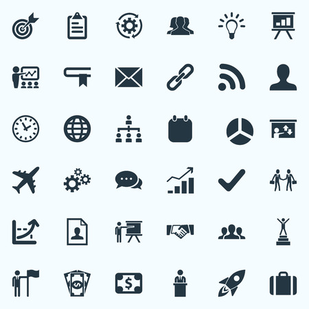 Vector Illustration Set Of Simple Strategy Icons. Elements Check Mark, Partnership, Increase Graph And Other Synonyms Handshake, Report And Trip.