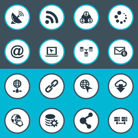 Vector Illustration Set Of Simple Browser Icons. Elements Web Cursor, Server Relationship, Network Sharing And Other Synonyms Email, Hyperlink And Server.