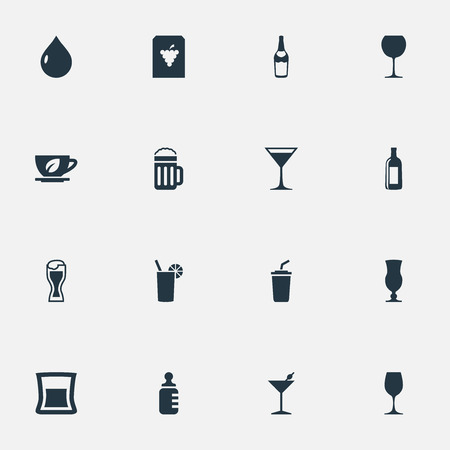 Vector Illustration Set Of Simple Drinks Icons. Elements Fruit, Cosmopolitan, Cocktail And Other Synonyms Liquor, Herbal And Vodka.