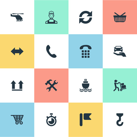 Vector Illustration Set Of Simple Logistics Icons. Elements Cycle, Up Side, Sea Transport And Other Synonyms Liner, Customer And Marker. Illustration