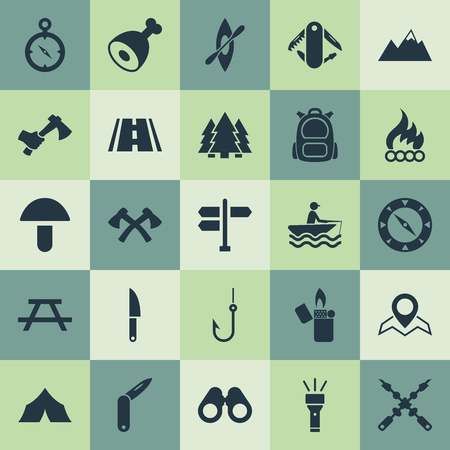 Vector Illustration Set Of Simple Tourism Icons. Elements Chronometr, Axes, Penknife And Other Synonyms Road, Sign And Equipment.