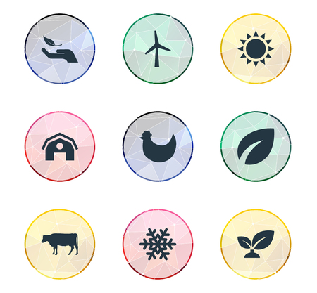 Vector Illustration Set Of Simple Nature Icons. Elements Spring, Chicken, Plant And Other Synonyms Ecology, Life And Dairy.