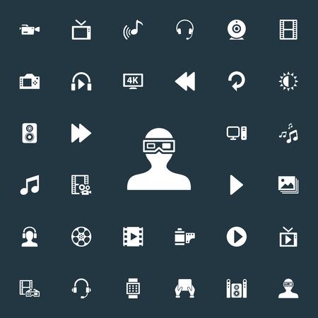Vector illustratie Set van eenvoudige media iconen. Elements Reel, Play, Ultra Display en andere synoniemenfoto, tv en camera.