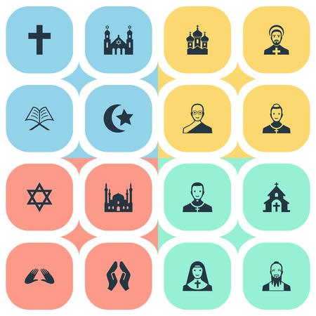 벡터 일러스트 레이 션 간단한 믿음 아이콘의 집합입니다. 요소 David Star, Muslim, Priestess 및 기타 동의어 Mohammedanism, Clergy And Holy.