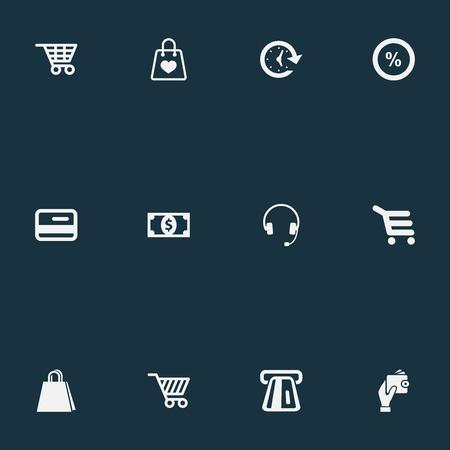 Vector illustratie Set van eenvoudige verkoop iconen. Elementenverkoop, valuta, winkelkar en andere synoniemenhoofdtelefoons, portemonnee en bankieren.