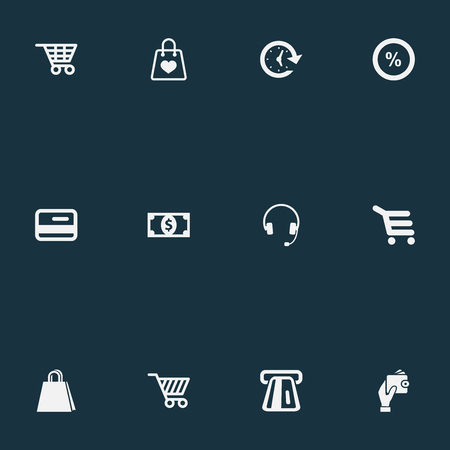 Vector Illustration Set Of Simple Sale Icons. Elements Sale, Currency, Shop Trolley And Other Synonyms Headphones, Purse And Banking.
