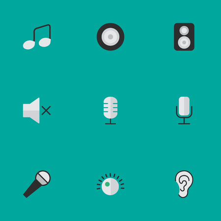 volume knob: Vector Illustration Set Of Simple Sound Icons. Elements Music Sign, Loudspeaker, Mike And Other Synonyms Note, Make And Loudspeaker.