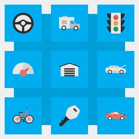 シンプルな交通アイコンのベクター イラスト セット。要素のオープン、リサイクル、交通信号灯と他類義語スピード ライトし、ヴァン。