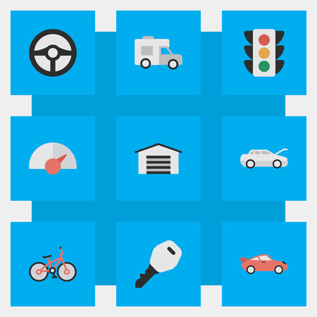 Vector Illustration Set Of Simple Traffic Icons. Elements Open, Recycle, Traffic Lights And Other Synonyms Speed, Lights And Van.