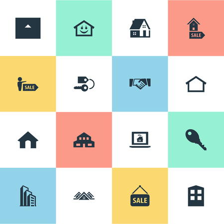 Vector Illustration Set Of Simple Estate Icons. Elements Partnership, Agent, 3 Housings And Other Synonyms Cottage, Agreement And Key. Banco de Imagens - 83161357