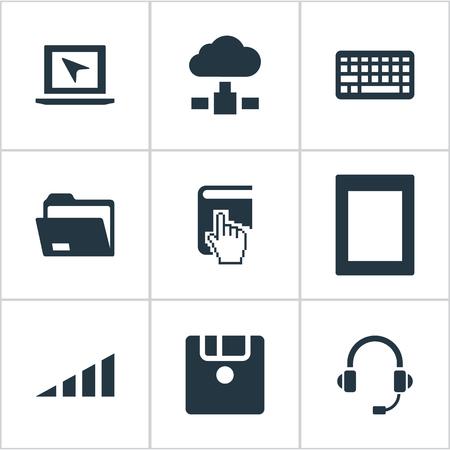 벡터 일러스트 레이 션 간단한 컴퓨터 아이콘의 집합입니다. 요소 팜 탑, 커서, 플로피 디스크 및 기타 동의어 키보드, 헤드폰 및 디스크.
