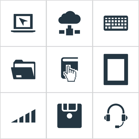Vector Illustration Set Of Simple Computer Icons. Elements Palmtop, Cursor, Floppy Disk And Other Synonyms Keyboard, Headphone And Disk. Illustration