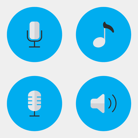 Vector Illustration Set Of Simple  Icons. Elements Microphone, Note, Record And Other Synonyms Mic, Volume And Record. Illustration