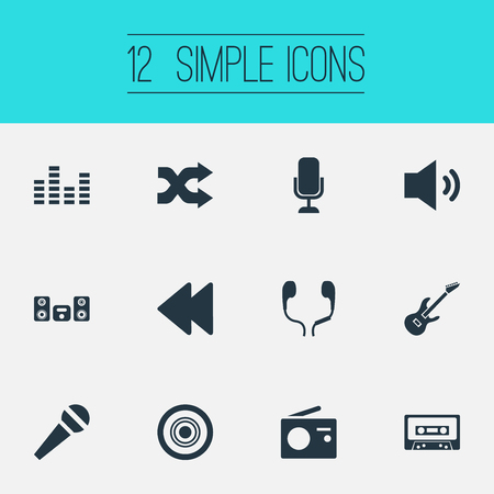 Vector Illustration Set Of Simple Music Icons. Elements Compact Disk, Backwards, Megaphone And Other Synonyms Backward, Arrow And Disk.