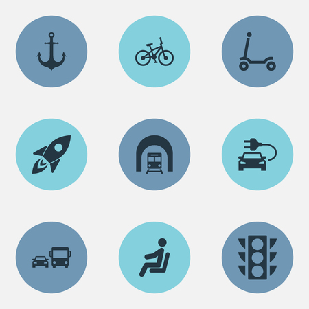 Vector Illustration Set Of Simple Shipment Icons. Elements Transport, Tunnel, Electric Vehicle And Other Synonyms Green, Vehicle And Light.