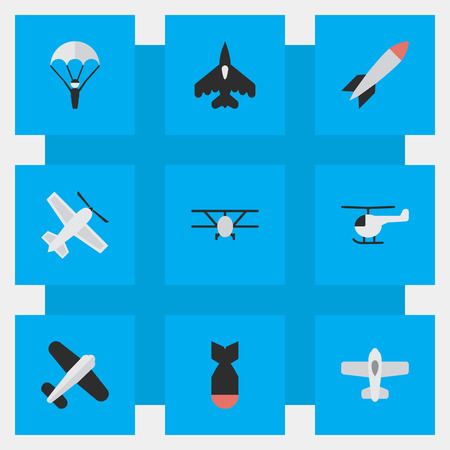 Vector Illustration Set Of Simple Plane Icons. Elements Rocket, Catapults, Craft And Other Synonyms Bomb, Chopper And Man.