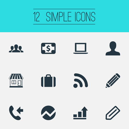 Vector Illustration Set Of Simple Company Icons. Elements Store, Growth, Member And Other Synonyms Bill, Statistics And Telephone. Illustration