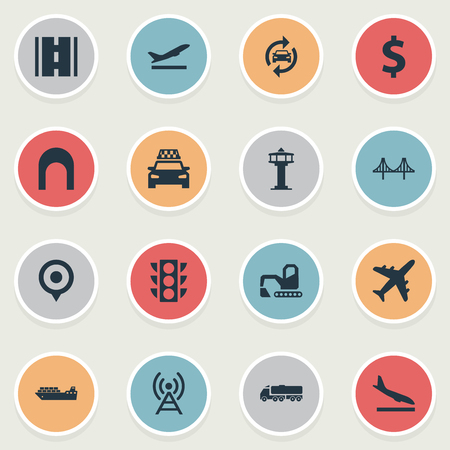Vector Illustration Set Of Simple Infrastructure Icons. Elements Auto Service, Airport, Entrance And Other Synonyms Departure, Highway And Bulldozer. Illustration