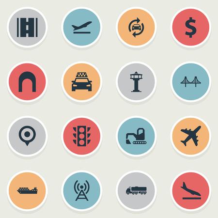 Vektor-Illustrations-Satz einfache Infrastruktur-Ikonen. Elements Auto Service, Flughafen, Eingang und andere Synonyme Abfahrt, Autobahn und Bulldozer. Standard-Bild - 83161364