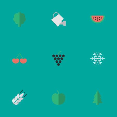Vektor-Illustrations-Satz einfache Gartenbau-Ikonen. Elemente Melone, Wein, Bailer und andere Synonyme Schneeflocke, Traube und Weizen. Standard-Bild - 83161370
