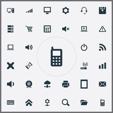 単純なデバイスのアイコンのベクトル イラスト セット。取引、印刷機、接続、他の同義語要素 Web 設定、ネット、歯車。