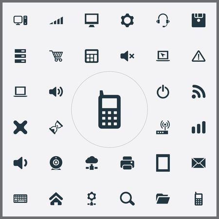 Vector Illustration Set Of Simple Device Icons. Elements Web Trading, Printing Machine, Connection And Other Synonyms Setting, Net And Cogwheel.