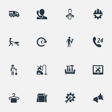 Vektor-Illustrations-Satz einfache Hilfsikonen. Elemente Aufhänger, Hinweis, LKW und andere Synonyme Intervall, Transport und Pflicht. Standard-Bild - 83161369
