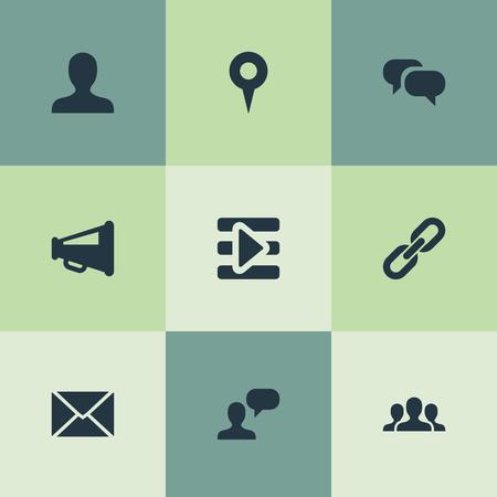 シンプルなソーシャル メディアのアイコンのベクトル イラスト セット。要素チーム、プロファイル、メディア コントロール、他の同義語のコント