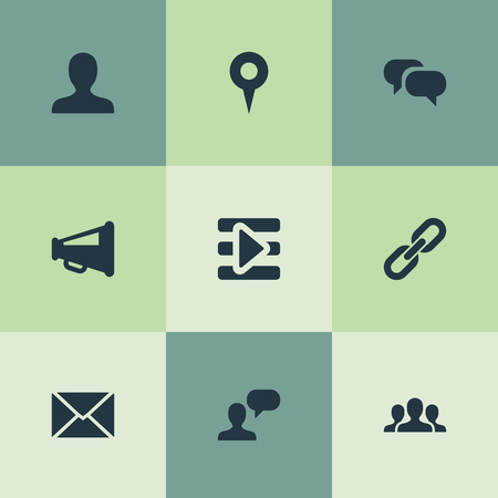 벡터 일러스트 레이 션 간단한 소셜 미디어 아이콘의 집합입니다. 요소 팀, 프로필, 미디어 컨트롤 및 기타 동의어 컨트롤, 핀 및 스피커.