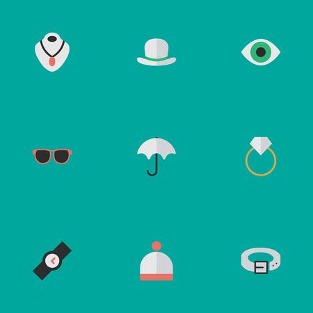 벡터 일러스트 레이 션 간단한 악기 아이콘의 집합입니다. 요소보기, 양모 착용, 헤드 기어 및 기타 동의어 반지, 시계 및 목걸이.