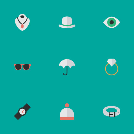 Vector Illustration Set Of Simple Instrument Icons. Elements View, Wool Wear, Headgear And Other Synonyms Ring, Watch And Necklace. Иллюстрация