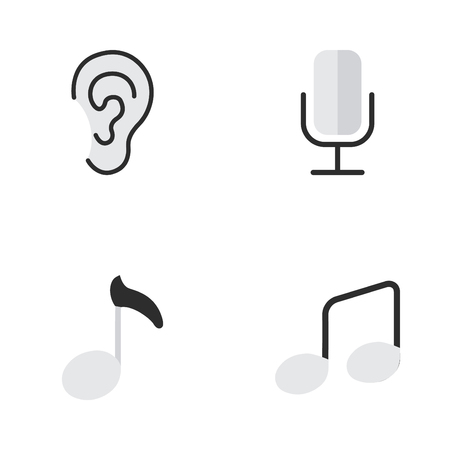 Vector Illustration Set Of Simple Melody Icons. Elements Music Sign, Listen, Record And Other Synonyms Ear, Hear And Listen.
